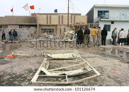 KIRKUK,IRAQ-FEBRUARY 3 : Houses destroyed by a car bomb explosion in Kirkuk on February 3, 2007 in Kirkuk,Iraq.