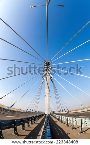 Kirovsky cable bridge through Samara River, Russia #223348408