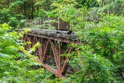 Kiso Forest Raiways bridge ruins over Atera river in Nagano, Japan.