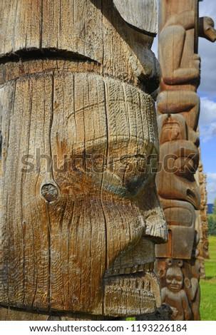 Kispiox Totem Poles (1866). Totem poles of the first nation people near Hazelton, British Columbia, Canada #1193226184