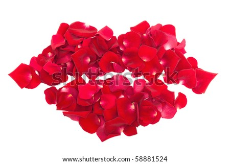 kiss from rose petals isolated on white