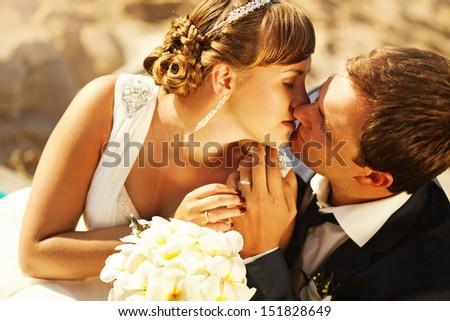 kiss on wedding day