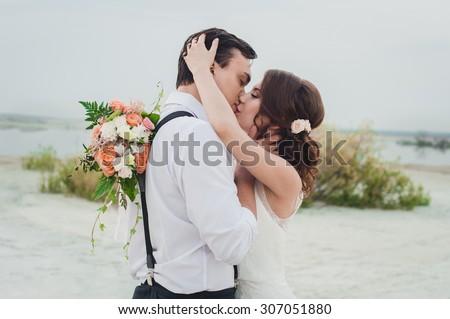 Kiss the bride and groom Сток-фото ©