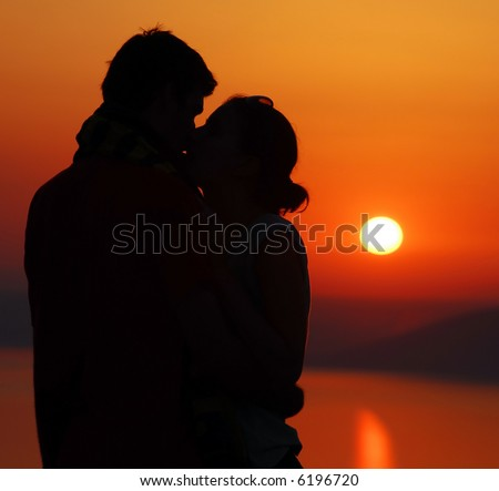 sunset love kiss. stock photo : Kiss with sunset