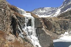 Kit Carson Peak and Challenger Peak with Frozen Waterfall and Icy Lake, Sangre de Cristo Range, Colorado Rockies