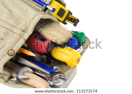 kit of tools isolated on white background