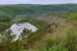 Kitaygorod outcrop. Geological landscape. The most complete section of Silurian and Devonian sediments, the geological standard of the Paleozoic age. The village of Kitaygorod and the Ternava River.
