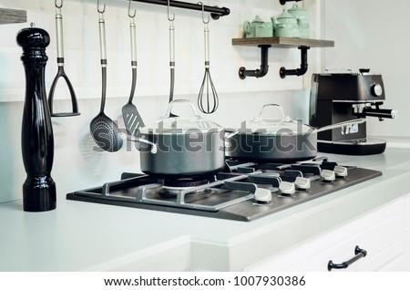Kitchen accessories, dishes. Modern kitchen interior