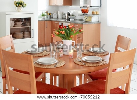 Kitchen and dining room interior in family house