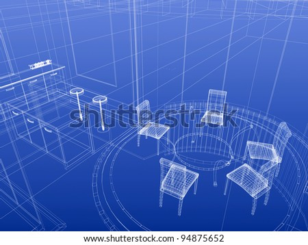 Kitchen And Dining Wireframe Interior. Blueprint Style. 3d