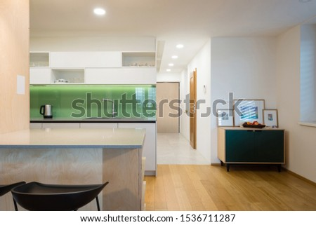 Kitchen and entrance hall in contemporary apartment #1536711287