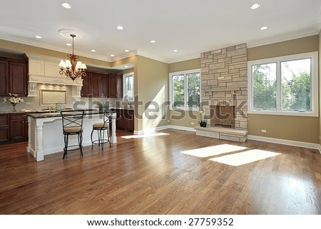 Kitchen and fireplace in new construction #27759352