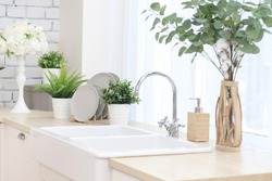 kitchen area with artificial flowers in flower pots, plates on a wooden stand, a large sink with a tap.