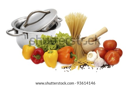 Kitchen Arrangement on healthy food - the ingredients for the dish