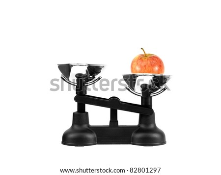 Kitchen balance scales isolated against a white background