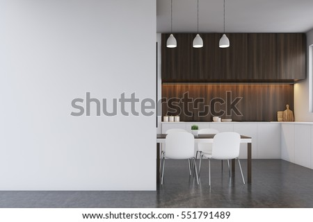 Kitchen, blank wall. 3d rendering. Mock up.