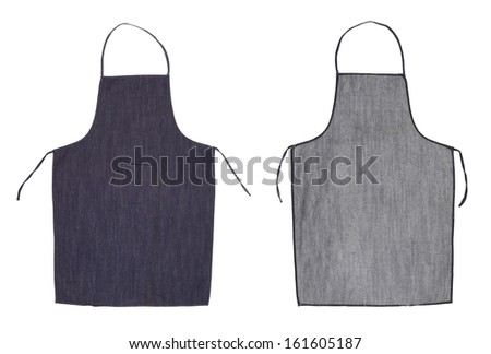 Kitchen blue apron. Front and back view. Isolated on a white background