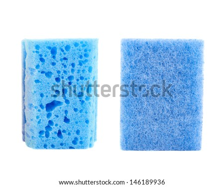 Kitchen blue sponge front and back side views isolated over white background