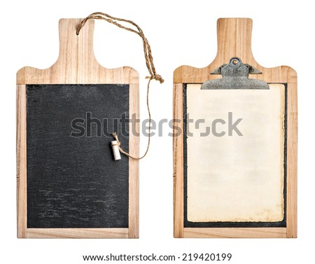 kitchen board with chalkboard and clipboard for your text and recipe isolated on white background #219420199