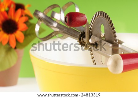 Kitchen bowl and mixer in old fashioned setting