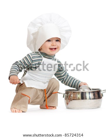 kitchen boy with pan isolated on white