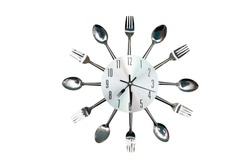 Kitchen clock in the original style of a spoon and fork