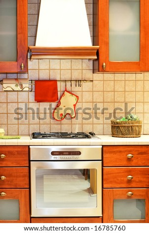 Kitchen counter in country style with gas stove