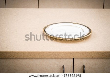 Kitchen Counter with Plate, Empty Dish