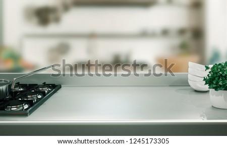Kitchen countertop, 3d render illustration