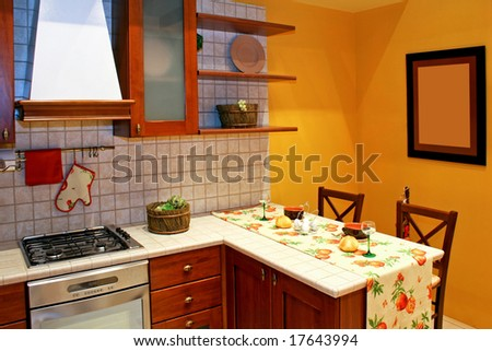 Kitchen Countertop In Country Style With Gas Stove Stock Photo ...