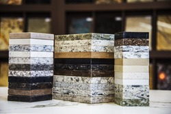 Kitchen countertops samples of granite, marble and quartz