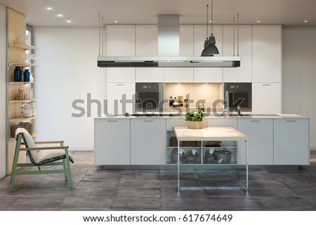 Kitchen 3d render interior #617674649
