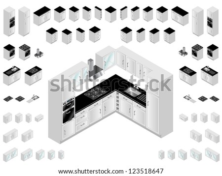 Kitchen design elements. Large selection of isometric kitchen units for room layout and design.