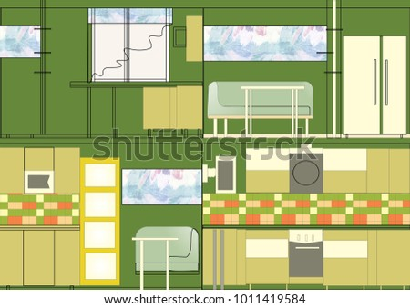Kitchen design. Illustration