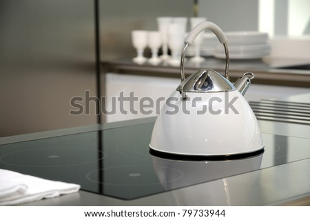 kitchen design, white kettle on stove