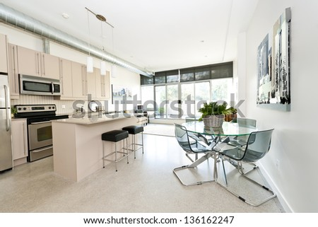 Kitchen, dining and living room of apartment