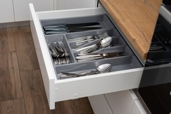 Kitchen drawer with cutlery set