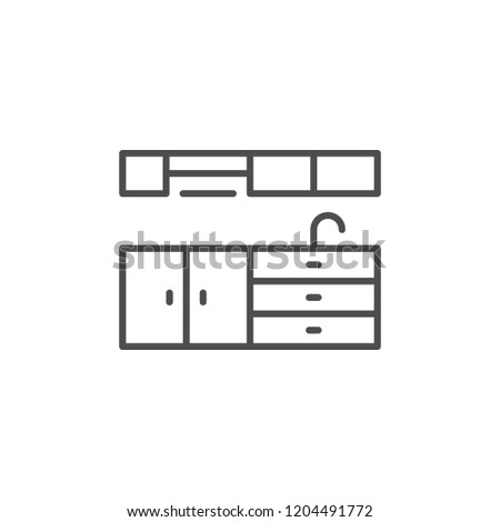Kitchen furniture line icon isolated on white