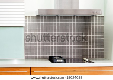 Kitchen gas stove and stainless steel ventilation