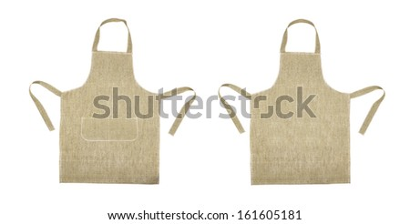 Kitchen gray apron. Front and back view. Isolated on a white background