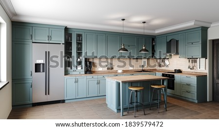 Kitchen in a modern style with a light worktop with sink, stove, oven, kitchen utensils. There are green boxes under the countertop. 3D rendering.