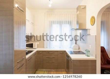 Kitchen in a renovated apartment, nobody inside