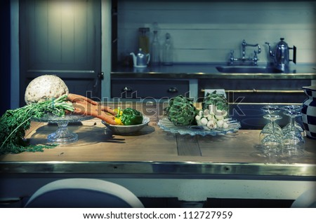 kitchen  in country style and vegetables