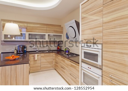 Kitchen in luxury home with large center island
