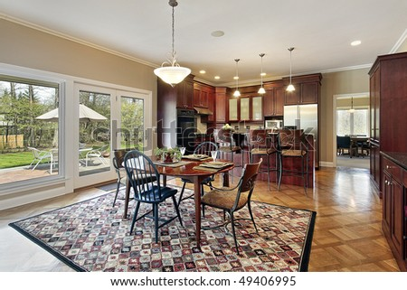 Kitchen in luxury home with patio view