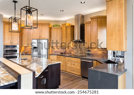 Kitchen in Luxury Home with View of Cabinetry