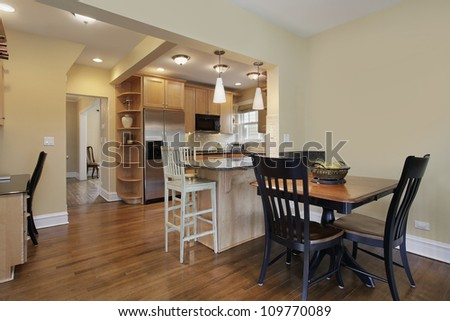 Kitchen in modern home with eating area
