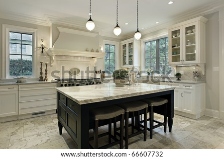 Kitchen in modern home with granite counter tops