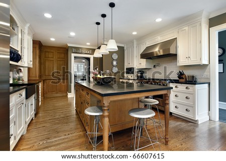 Kitchen in modern home with large center island - stock photo