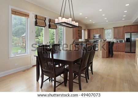 Kitchen in suburban home with large eating area